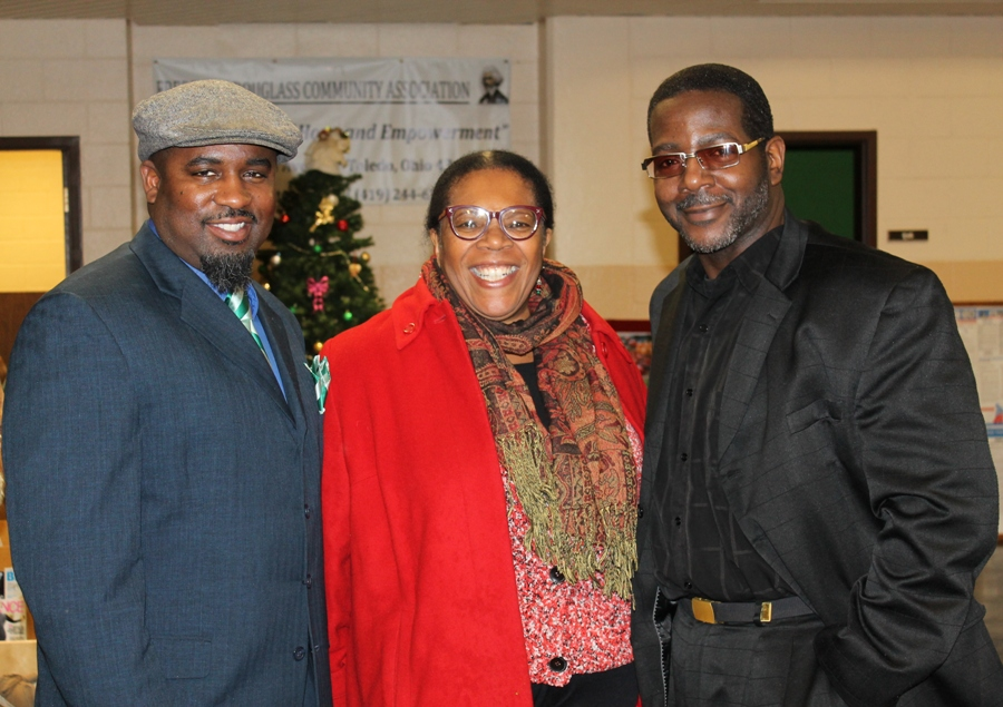 (L-R) My5tery Music™ Executive Director Errick Dixon, Toledo, OH Mayor Paula Hicks-Hudson, and SBI Workshop™ Creator and Keynote Teacher Tim Carthon at the Frederick Douglass Community Center